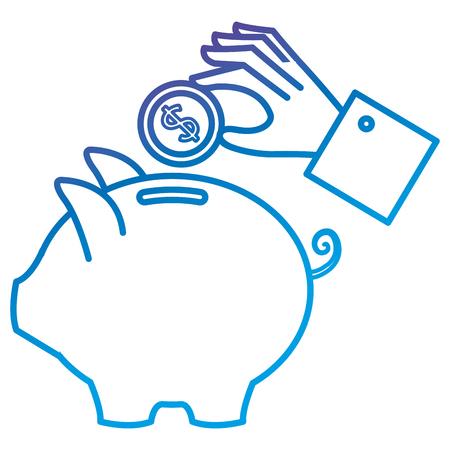 돼지 저축 및 동전 평면 아이콘 벡터 일러스트 디자인으로 손을 보호기