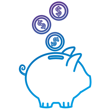 Piggy savings with coins flat icon vector illustration design
