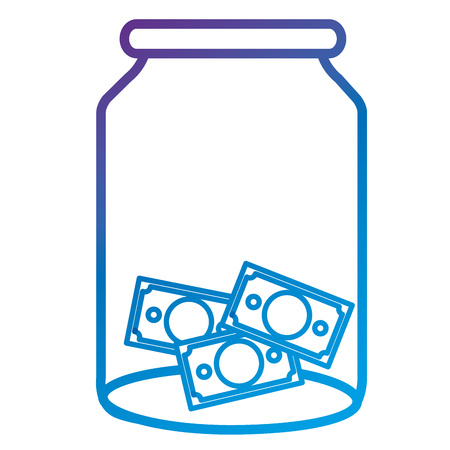 Glass jar with bills money flat icon vector illustration design