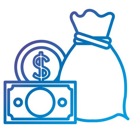 동전과 빌 플랫 아이콘 벡터 일러스트 디자인 돈 가방