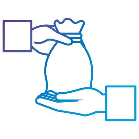 Hand with money bag flat icon vector illustration design 向量圖像