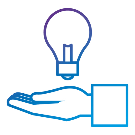 Hand human with bulb light flat icon vector illustration design