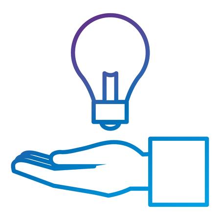 Hand human with bulb light flat icon vector illustration design