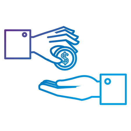 Hands with coin money flat icon vector illustration design Ilustração