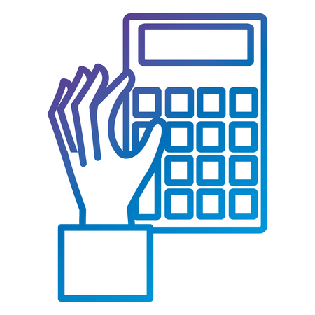 Hand with calculator device flat icon vector illustration design