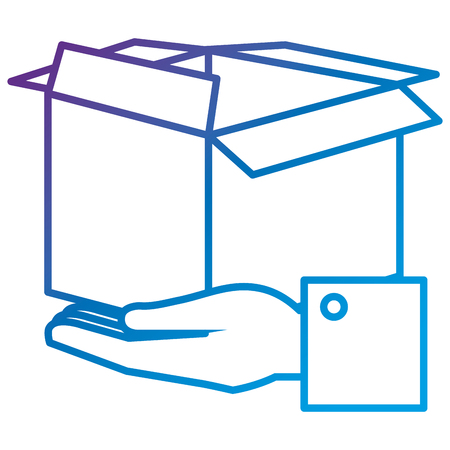 Hands with carton box flat icon vector illustration design