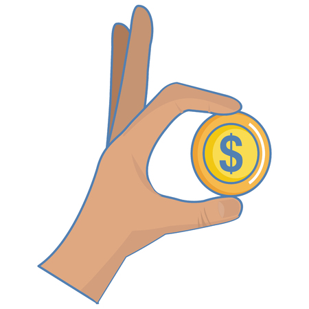 Hand with coin vector illustration design