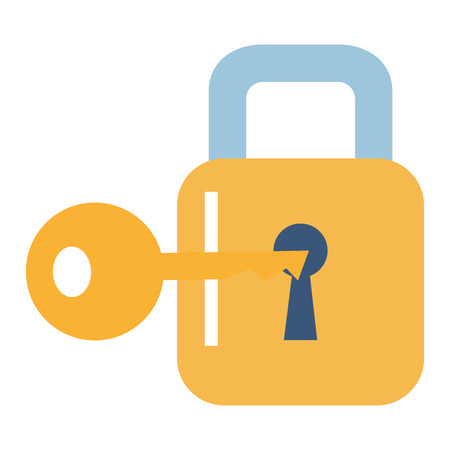 Safe secure padlock with key vector illustration design Imagens - 90373026