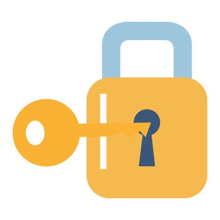 Sicheres sicheres Vorhängeschloß mit Schlüsselvektor-Illustrationsdesign Standard-Bild - 90373026