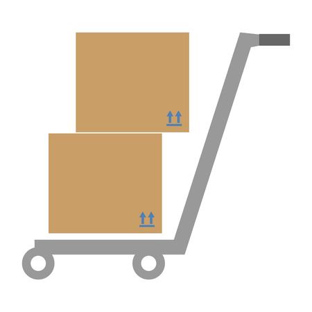 Opslagkar met ontwerp van de dozen het vectorillustratie
