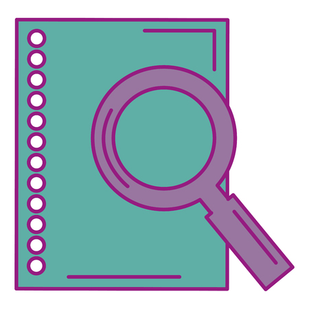 sheet of notebook with magnifying glass vector illustration design