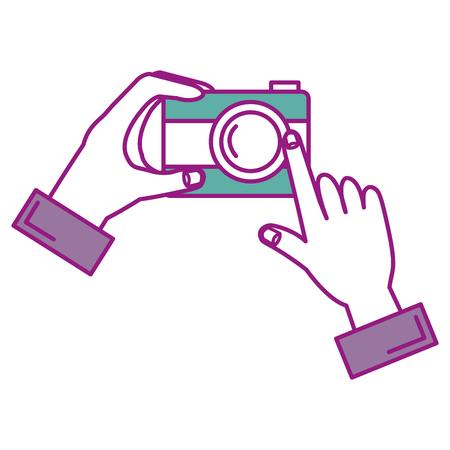 hands with photographic camera isolated icon vector illustration design