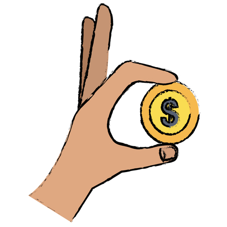 hand with coin money vector illustration design Illustration