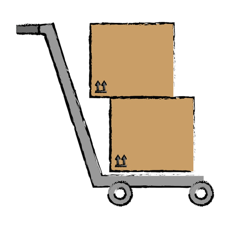 storage cart with boxes vector illustration design