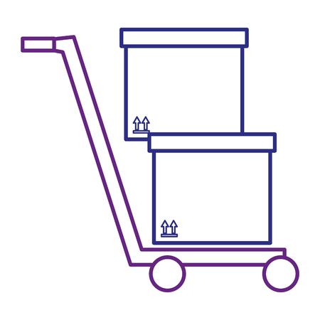 opslagkar met dozen vectorillustratieontwerp Stock Illustratie