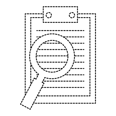 clipboard with magnifying glass vector illustration design Çizim