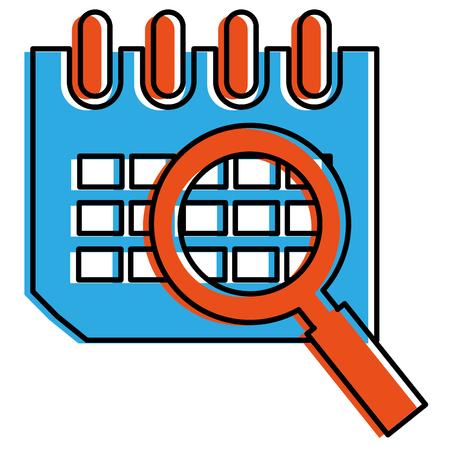 calendar reminder with magnifying glass vector illustration design