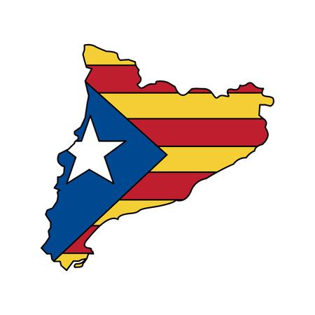 Bandera de Cataluña y diseño del ejemplo del vector de la imagen del icono del esquema del país Foto de archivo - 90401233