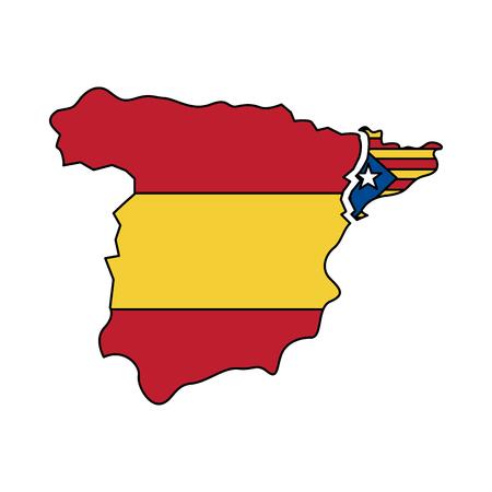 La bandiera e il profilo del paese di Catalunya hanno separato dal disegno dell'illustrazione di vettore di immagine dell'icona della Spagna Archivio Fotografico - 90401236