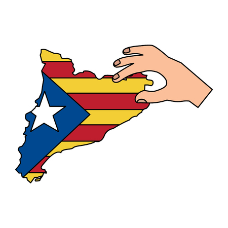 catalunya flag and country outline with hand icon image vector illustration design Ilustração