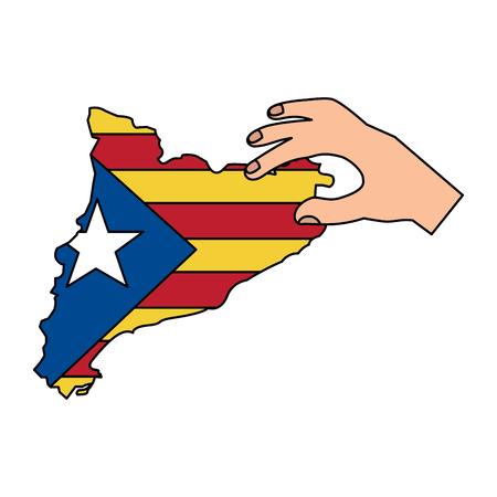 Esquema de bandera y país de catalunya con diseño de ilustración de vector de imagen de icono de mano Foto de archivo - 90401247