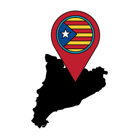 catalunya flag and country outline with gps pin  icon image vector illustration design Foto de archivo - 90401249