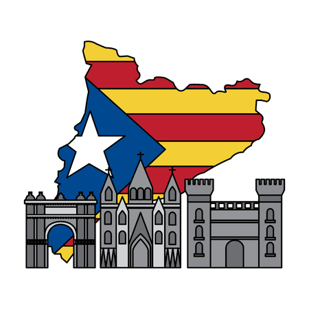 Escudo de catalunya y contorno del país con diseño de ilustración de vector de imagen de icono de puntos de referencia Foto de archivo - 90401250