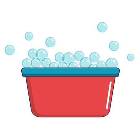 laundry pot with foam vector illustration design