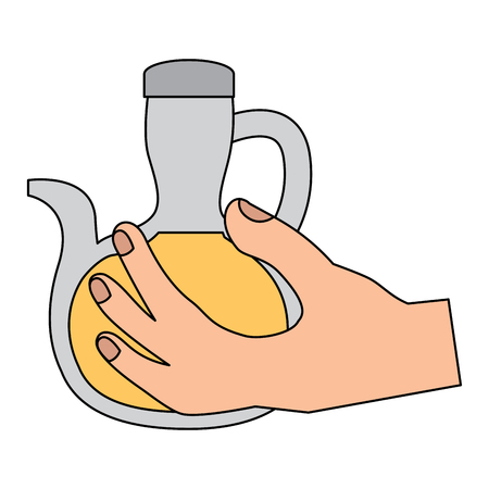 olive oil bottle hand holding icon image vector illustration design