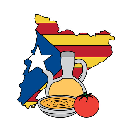 catalunya flag and country outline with olive oil tomato soup icon image vector illustration design Illustration