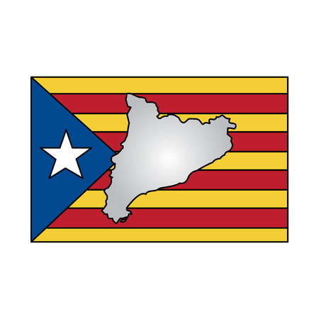 catalunya flag and country outline icon image vector illustration design 向量圖像