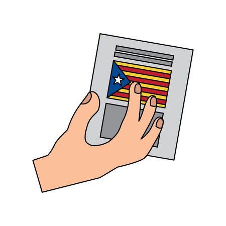 catalunya flag independence vote icon image vector illustration design