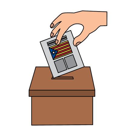Cataluña, bandera, independencia, voto, icono, imagen, vector, ilustración, diseño Foto de archivo - 90401294