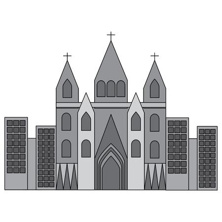 Cathédrale de l & # 39 ; église dans l & # 39 ; image ville icône de conception vecteur gris illustration Banque d'images - 90401303