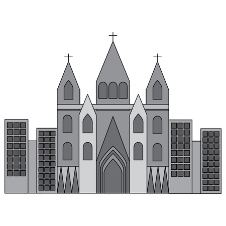 kerk kathedraal in stad pictogram afbeelding vector illustratie ontwerp grijze kleur