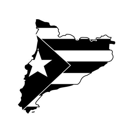 bandiera catalunya e contorno del paese icona immagine vettoriale illustrazione design bianco e nero Vettoriali