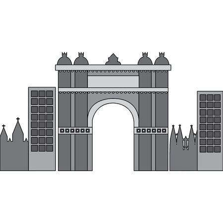 castle building in city icon image vector illustration design  grey color Stock Vector - 90401310