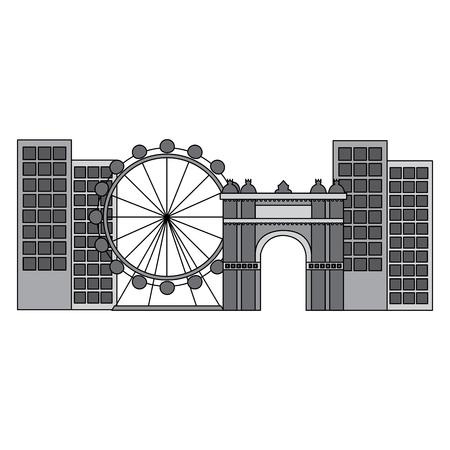 reuzenrad in stad pictogram afbeelding vector illustratie ontwerp grijze kleur
