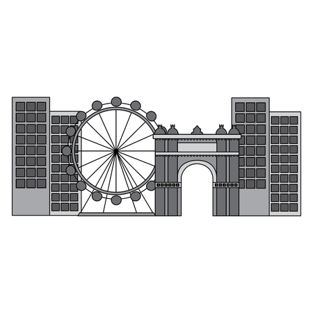 ferris wheel in city icon image vector illustration design  grey color Illustration