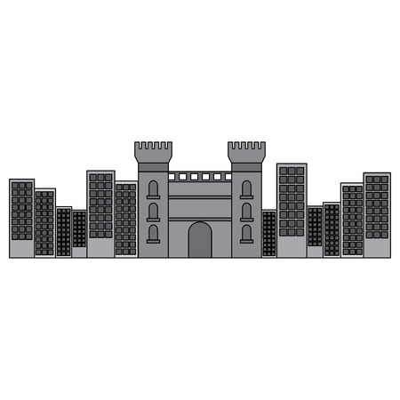 castle building in city icon image vector illustration design  grey color Stock Vector - 90401313