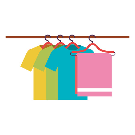 ワイヤーフックベクトルイラストデザインでぶら下がるタオルとシャツ