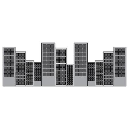 도시 스카이 라인 건물 아이콘 이미지 벡터 일러스트 디자인 회색 색상