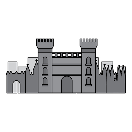 castle building in city icon image vector illustration design  grey color