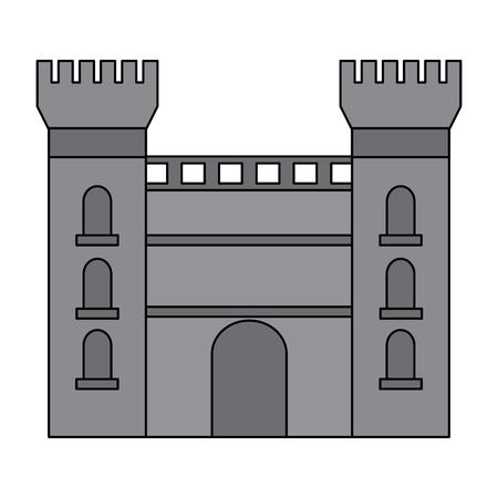 성 건물 아이콘 이미지 벡터 일러스트 디자인 회색 색상