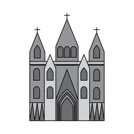 kerk kathedraal pictogram afbeelding vector illustratie ontwerp grijze kleur