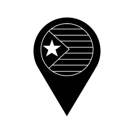 星と縞模様のフラグ GPS ピンアイコン 画像 ベクトル イラストデザイン 黒と白