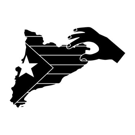 Escudo de catalunya y contorno del país con diseño de ilustración de vector de imagen de icono de mano blanco y negro Foto de archivo - 90401331