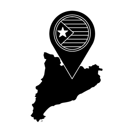 catalunya flag and country outline with gps pin  icon image vector illustration design  black and white Ilustrace