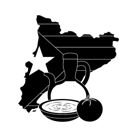 Bandera de Cataluña y contorno del país con aceite de oliva sopa de tomate icono de diseño de ilustración vectorial blanco y negro Foto de archivo - 90401335