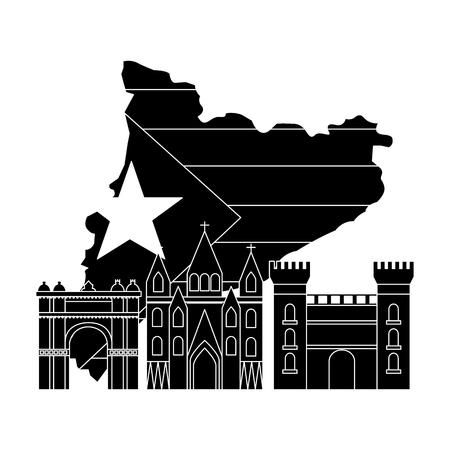 Bandera de Cataluña y contorno del país con diseño de ilustración de vector de imagen de icono de señales blanco y negro Foto de archivo - 90401337